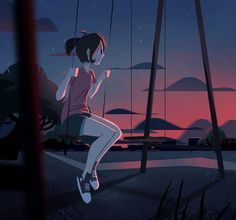 "roastedstix: ""just keep swinging "" – Her Telden News Foto Gif, Animated Love Images, Anime Scenery Wallpaper, Digital Art Girl, Aesthetic Gif, Anime Art Girl, Cartoon Art, Cute Drawings, Pixel Art"