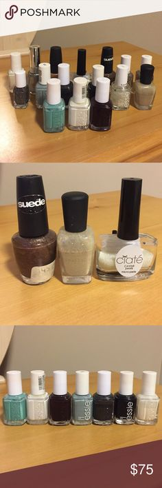 """Nail polish set All shown in picture 1. Picture 2 (left to right): OPI suede matte """"you don't know Jacques"""" (SOLD) Zoya pixi dust """"Godiva.,"""" ciate caviar pearls (sprinkle on wet polish). Picture 3 (left to right): Where's my chauffeur, Blanc, Wicked, Parka perfect, Over the top, Licorice, Marshmellow. Picture 4 (left to right): OPI golden rules, mini Ignite the night, Set in Stones, On a Silver Platter, Pure Pearlfection, Revlon Metallic. *most have never been used Makeup"""