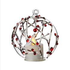 Check out the deal on 3.5 Inch Berry Branch Hand Blown Ornament - Simulated Light Tealight - Timer at Battery Operated Candles