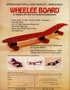 this sampling of vintage skateboard ads from the and takes us back to days when decks were flat, wheels w Logo Skateboard, Skateboard Design, Old School Skateboards, Vintage Skateboards, Caster Board, Cruiser Boards, Skate Surf, X Games, Longboarding