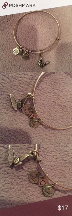 Butterfly Alex and Ani bangle Silver butterfly Alex Ani bangle , butterfly charm itself is perfect condition. The small little charms are a bit worn out and show signs of wear from being worn with other bracelets. Alex & Ani Jewelry Bracelets