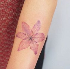 Pink X-Ray lily tattoo by G.NO