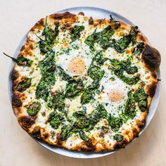 The first time I had this pizza was the first time I let my dough sit overnight in the fridge. I remember how well the flavors in the crust had improved since the previous night's pizza. This is a cream-based pie, but tomato sauce works well here, too. Baking Stone, Breakfast Pizza, Breakfast Ideas, Breakfast Casserole, Sausage And Egg, How To Make Breakfast, Pizza Dough, Pizza Pizza, Egg Pizza