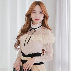 Buy 'Dabuwawa – Lace-Panel Ruffled Blouse' with Free International Shipping at YesStyle.com. Browse and shop for thousands of Asian fashion items from China and more!