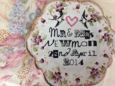 bespoke heart vintage wedding mr & mrs plate