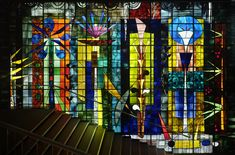 John Piper's stained glass window at Sanderson Hotel (billiard room)
