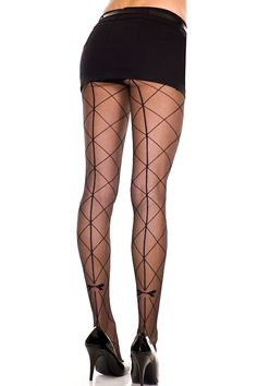 Wear these stylish sheer pantyhose with faux large diamond net pattern and bows. (Mini skirt not included.) Sheer Pantyhose With Faux Large Diamond Net, Sheer Pantyhose With Diamond Net, Sheer Pantyhose With Bows Fishnet Leggings, Sheer Tights, Fishnet Stockings, Stockings Lingerie, Black Stockings, Sexy Lingerie, Bas Sexy, Bird Costume, Fashion Tights