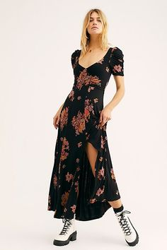 87533cd0c9f Sweet Moments In Time Maxi Dress - Black Short Sleeve Floral Maxi Dress  with Criss Cross