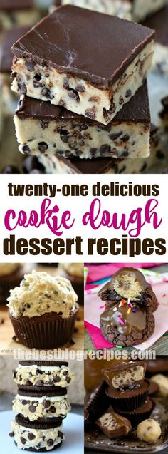 love with Cookie Dough? Check out this drool-worthy, and down right sinfully delicious list of 21 Cookie Dough recipes that you won't want to miss! Creative Desserts, Desserts To Make, Best Dessert Recipes, Delicious Desserts, Food To Make, Yummy Food, Sweet Desserts, Dessert Ideas, Yummy Recipes