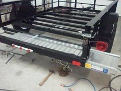 utility trailer hidden ramps: A utility trailer build: 6 - 4 x 3500 pounds. I just bought a Millermatic 211 mig welder and needed a project to try out the machine. Work Trailer, Off Road Trailer, Trailer Plans, Trailer Build, Utility Trailer, Trailer Diy, Welding Trailer, Kayak Trailer, Car Trailer Ramps