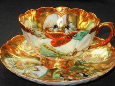 JAPAN TRANSLUCENT Gold RUST TULIP Tea cup and saucer