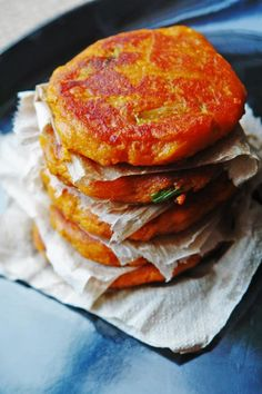 Ottolenghi's Sweet Potato Cakes -just fry it in non butter.