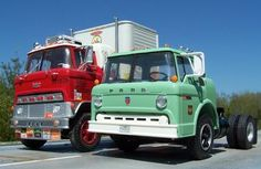 """Ford C600 COE, next to a """"Two Story Falcon"""""""