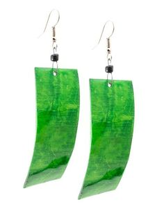 "African Cycled Bovine Horn Earrings-(Green)-Womens.  Handmade in Africa, hangs 2""-3"" long.  Great unique gift!  Please review shipping charges and details."