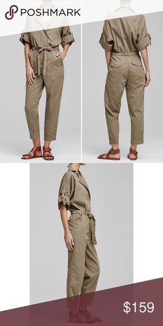 Sierra Jumpsuit by Citizens of Humanity Beach Dune Change up this season's wardrobe with our favorite Sierra Jumpsuit. Crafted in soft twill fabric, this beige wash has pockets and a cloth belt to give it a structured finish. Three-quarter length sleeves and snap buttons that are tastefully hidden. Classy and distinctive, it's a perfect option to wear with heels or sneakers on a weekend getaway trip. Citizens of Humanity Other