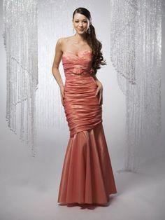 Taffeta Strapless Sweetheart Asymmetrically Dropped Bodice Mermaid Bridesmaids Dress