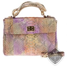 Made in Italy - Multi coloured genuine python leather hand bag - Handle is a gold plated python figure - Gold plated twist closure and feet to protect bottom of bag - Comes with leather strap for shoulder carrying - Nappa leather and suede lining - 2 main compartments separated by a zippered pouch - One side has 2 cellphone pouches lined with python skin - One side has a zippered pocket - Metal plate inside with FERI MOSH logo - Dimension: 12.20 inches x 9.45 inches