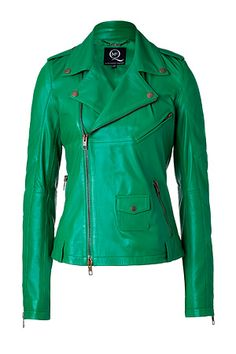 MCQ Alexander McQueen Grass Green Lambskin Biker Jacket   StyleBop. What a fun, bright color for a motorcycle jacket!