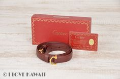 Cartier Wine Red Leather Must Line Belt