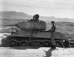 A Russian made T34/85 tank knocked out in Taejon Korea on 20 July 1950 stands at testimony to the heroic action of Major General William F. Dean Commanding Officer24th Infantry Division.