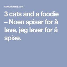 3 cats and a foodie – Noen spiser for å leve, jeg lever for å spise.