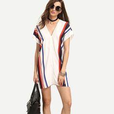 European Style Dress Women Deep V Neck Women Clothing Summer Vestido De Festa Striped  Office Dresses Party Office Vestidos 2017 #Affiliate