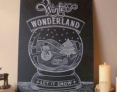 Winter Wonderland Chalk art, 2015 Let it Snow Christmas Chalk Print Blackboard Art, Chalkboard Drawings, Chalkboard Lettering, Chalkboard Designs, Chalk Drawings, Winter Christmas Scenes, Christmas Art, Winter Wonderland Christmas, Primitive Christmas