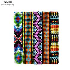 AMIU Friendship Handmade Bracelet Hippy 7row Seed Beads Bracelet Brazilian Rope String Beads For Jewelry Making For Women Men