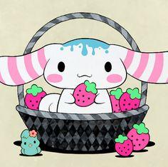 Cinnamoroll eating strawberries in a basket