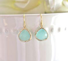 Gold Earrings Tiffany Blue Earrings Bridesmaid by AvaHopeDesigns, $20.00
