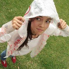 Cute plastic bag rain jacket