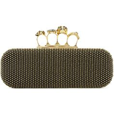 Alexander McQueen Black Studded Knuckle Box Clutch (26.145.010 IDR) ❤ liked on Polyvore featuring bags, handbags, clutches, black, clasp purse, studded purse, skull purse, skull handbag and skull studded purse