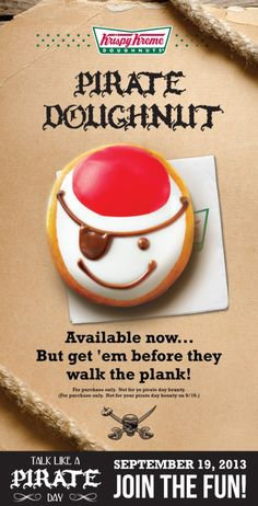 Talk Like a Pirate Day 2013 – 9/19 FREE Krispy Kreme Doughnuts