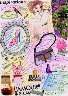 L'Amour is a slow chaos , collage by  #sarahdrawsketches #Paris #lacoste #shoes #bird #tea #porcelain #charlesbaudelaire #aunepassante