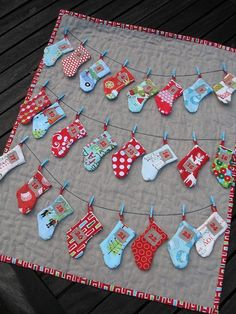 Cute advent calendar done with fabric scraps.
