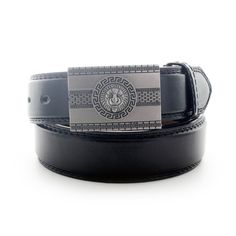 Faddism Men's Belt with Lion Head Plate Buckle