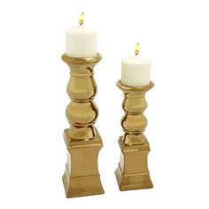 Metallic Ceramic Candle Holder 2-piece Set, Gold