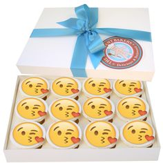 12 delicious #Valentinesday #Emoji Cupcakes, to send as a gift or to share at a party. Free delivery.  Each box is made fresh just prior to delivery. Each cupcake measures 7.4cm across. Quantity - 12