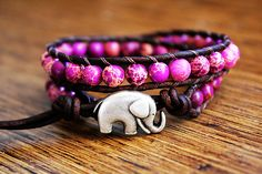 Jasper Amethyst Elephant Leather Beaded Wrap Bracelet