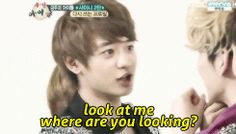 minho and key on weekly idol gif....whole episode's too funny.