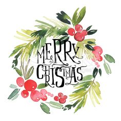 Merry Christmas Quotes, Happy Christmas Funny Sayings & Xmas Cards wreath watercolor. Noel Christmas, Winter Christmas, Vintage Christmas, Christmas Wreaths, Christmas Crafts, Christmas Decorations, Christmas 2017, Xmas Cards, Holiday Cards