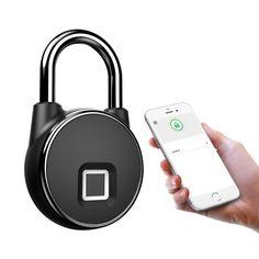 Mini Waterproof Bluetooth Smart Fingerprint Door Lock Anti-theft Electronic Padlock for Luggage School Office Warehouse Door Alarm App, Keyless Locks, Bluetooth, Finger, Smart Box, App Control, Warehouse, Door Gym, Tecnologia