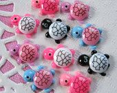 10 Pcs Assorted Color Turtle Cabochons - 10x12mm