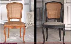 Chaise cannée patinée en noir pour un style industriel (Tuto)