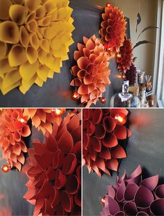 Fall Paper flowers wall Window DIY  Flores de papel otoño decoracion pared | Urbanic