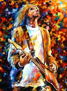 "Original Recreation Oil Painting on Canvas This is the best possible quality of recreation made by Leonid Afremov in person.  Title: Kurt Cobain Size: 30"" x 40""(75cm x 100cm) Condition: Excellent Brand new Gallery Estimated Value: $6,500 Type: Original Recreation Oil Painting on Canvas by ..."