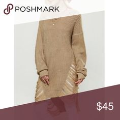 "Open work Asymetrical sweater. Extra cool sweater. One size/ fits everyone - bust 43"", length 30"", sleeve length 20. Beautiful sand color. Sweaters"