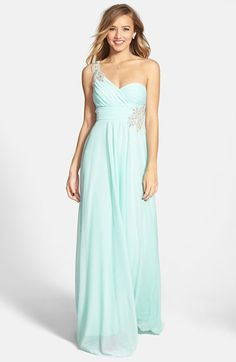Free shipping and returns on Sequin Hearts Embellished One-Shoulder Gown (Juniors) at Nordstrom.com. Twinkling embellishments enhance the glam appeal of a floor-length gown styled with a pleated bodice, full, flowing skirt and an eye-catching back.