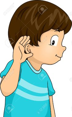 Illustration of a Little Boy with His Hand Pressed Against His Ear in a Listening Gesture ,