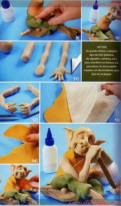 как слепить эльфа(гнома)-standing fondant elf(gnome) how to - Мастер-классы по украшению тортов Cake Decorating Tutorials (How To's) Tortas Paso a Paso